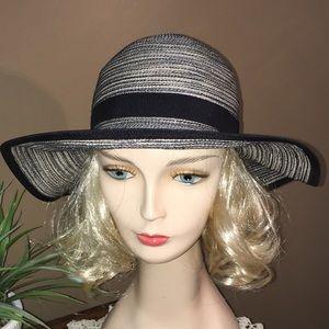 Solar escape washable navy striped wide brim hat
